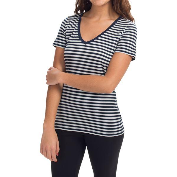 Icebreaker Tech Lite Stripe Shirt - UPF 20+, Merino Wool, Short Sleeve (For Women) in Black/Snow/Stripe - Closeouts