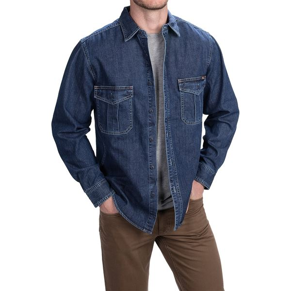 Woolrich Hemlock Denim Shirt - Long Sleeve (For Men) in Rinse - Closeouts
