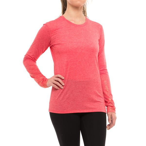 Brooks Distance Shirt - Long Sleeve (For Women) in Heather Poppy/Sol Shine - Closeouts