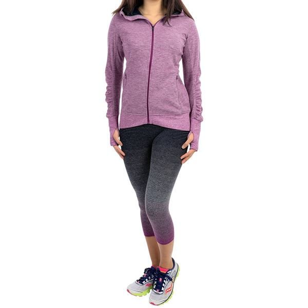 Brooks Joyride Hoodie - Full Zip (For Women) in Heather Oxford - Closeouts