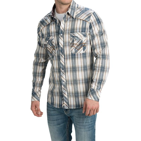 Rock & Roll Cowboy Dobby Plaid Shirt - Snap Front, Long Sleeve (For Men) in Maroon/Blue - Closeouts