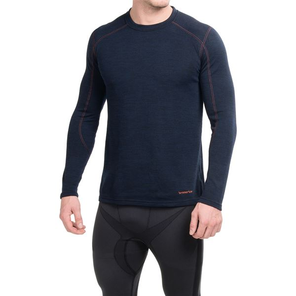 Terramar ClimaSense® Thermawool Crew Base Layer Top - UPF 50+, Long Sleeve (For Men) in Light Heather Grey - Closeouts