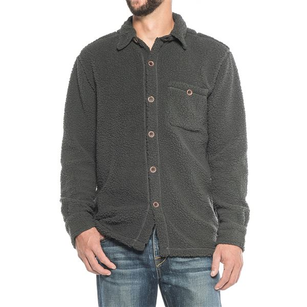 True Grit Fleece Button-Up Shirt - Long Sleeve (For Men) in Washed Grey - Closeouts