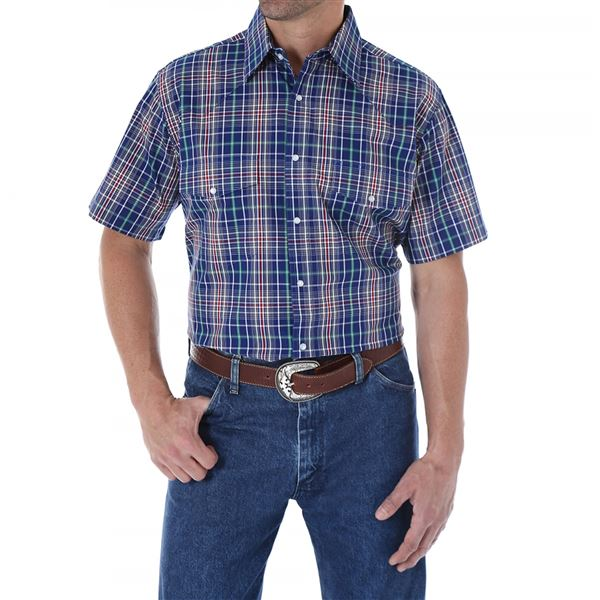 Wrangler Wrinkle Resist Plaid Shirt - Snap Front, Short Sleeve (For Men and Big Men) in Blue/Purple/White Checkered - Closeouts