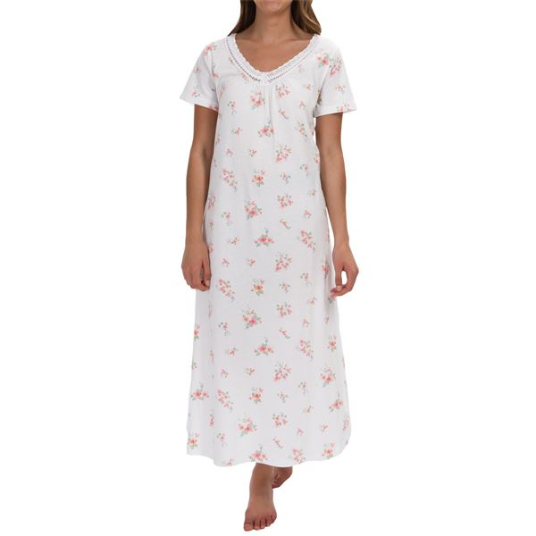 Carole Hochman Lace Trim Nightgown - Short Sleeve (For Women) in  - Overstock