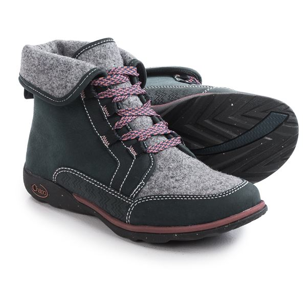 Chaco Barbary Lace Boots - Leather-Wool (For Women) in Black - Closeouts