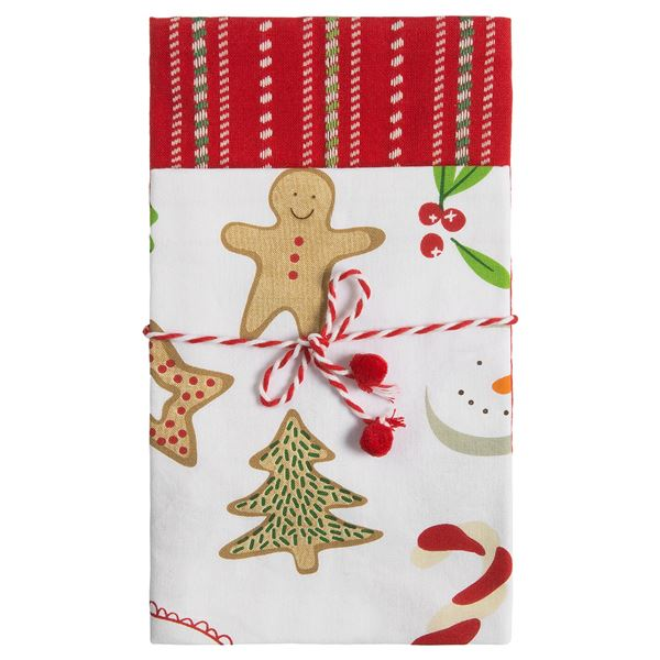 Tag Kitchen Cotton Dish Towels - 2-Pack in White/Red/Green - Closeouts
