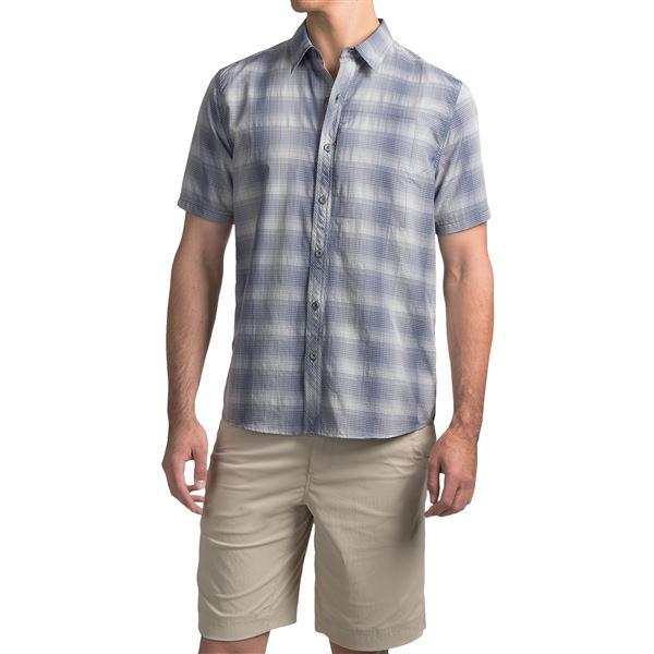 White Sierra Ningaloo Plaid Shirt - UPF 30+, Short Sleeve (For Men) in Dark Grape - Closeouts