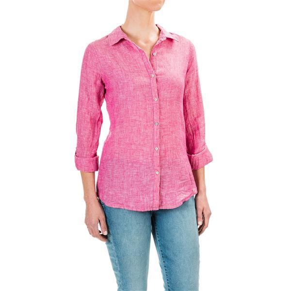 Image of Cross-Dye Linen Shirt - Roll-Up Long Sleeve (For Women)