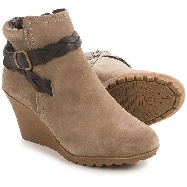 White Mountain Isabella Wedge Ankle Boots - Suede (For Women) in Light Taupe Suede - Closeouts