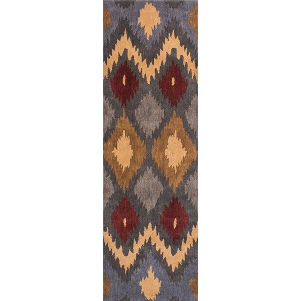 """Rizzy Home Bradberry Downs Floor Runner - 2'6""""x8', Hand-Tufted Wool in Red Floral - Closeouts"""