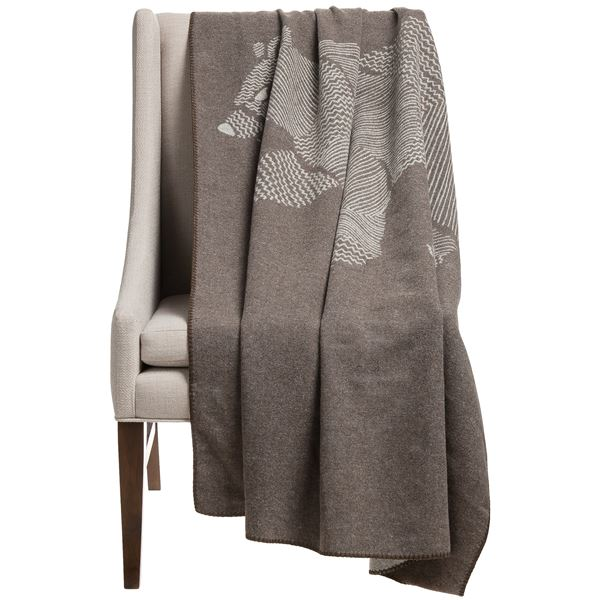 "Woolrich Treverton Jacquard Wool Throw Blanket - 46x70"" in Moose - Closeouts"