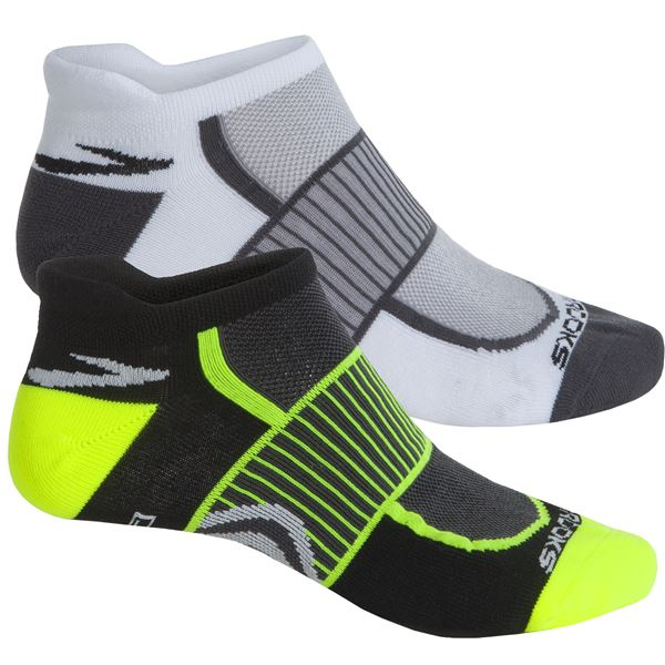 Brooks Training Day Tab Socks - 2-Pack, Below the Ankle (For Men and Women) in Black Yellow/Green - Closeouts
