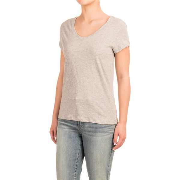 Stretch Cotton T-Shirt - Short Sleeve (For Women) in Mint Heather - Closeouts
