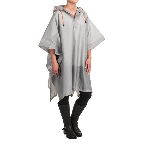 London Fog Hooded Rain Poncho - Waterproof in Clear - Closeouts