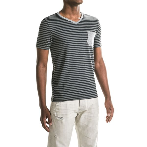 One-Pocket Stripe T-Shirt - V-Neck, Short Sleeve (For Men) in Grey/Black/Grey Heather - 2nds