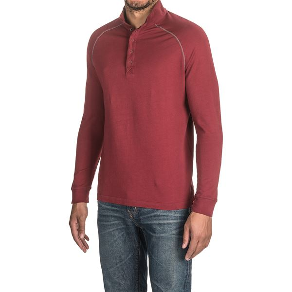 Agave Warren Henley Shirt - Supima® Cotton, Long Sleeve (For Men) in Medieval Blue - Closeouts