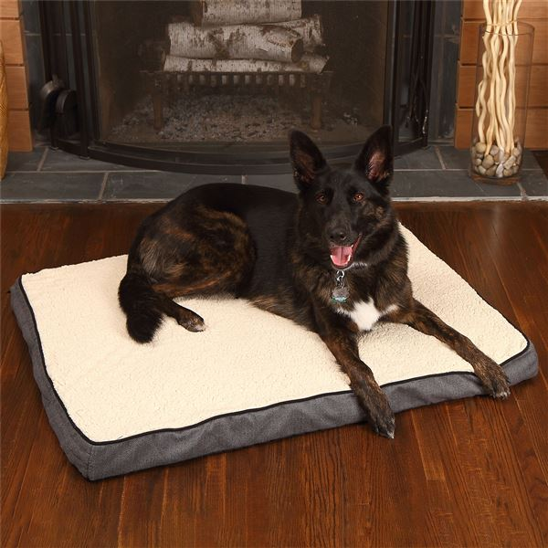 "Woolrich Herringbone Orthopedic Gusseted Dog Bed - 40x30"" in Khaki - Closeouts"