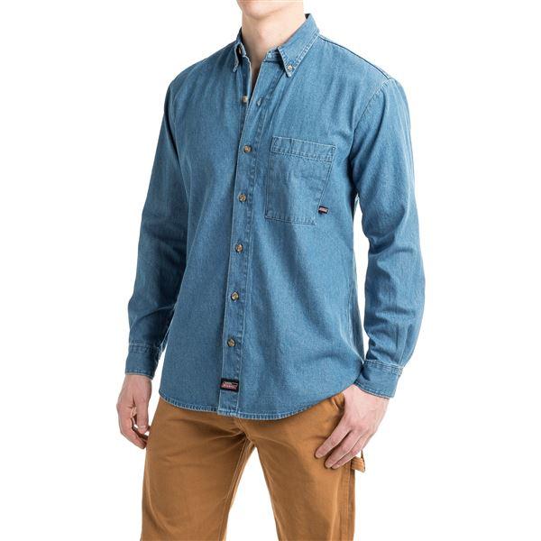 Dickies Denim Shirt - Long Sleeve (For Men) in Tinted Heritage Khaki - 2nds