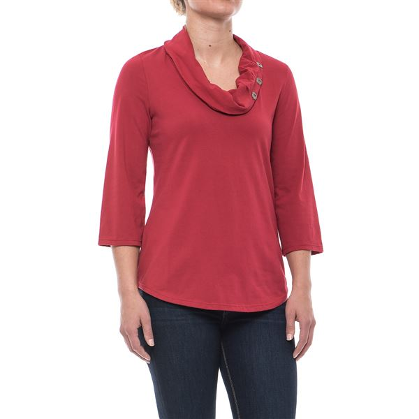 Cultural Cowl Neck Shirt - 3/4 Sleeve (For Women)
