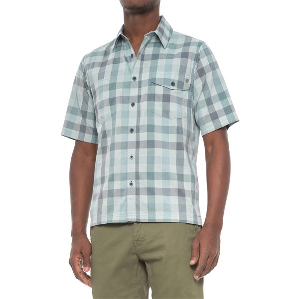 Woolrich High-Performance Plaid Shirt - Short Sleeve (For Men) in Peat - Closeouts