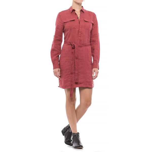 JACHS NY Girlfriend Shirtdress - Linen, Long Sleeve (For Women) in Black - Closeouts