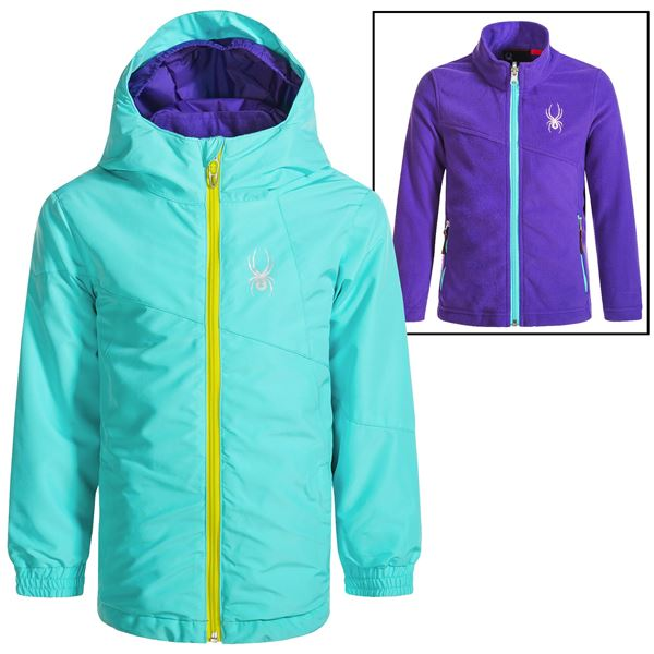 Spyder Bitsy Reckon 321 3-in1 Jacket - Insulated (For Little Girls) in Morning Sky Bryte B/Gum/Print - Closeouts