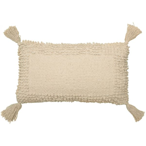 "THRO Lisburn Chenille Tassel Throw Pillow - 12x20"" in Natural - Closeouts"