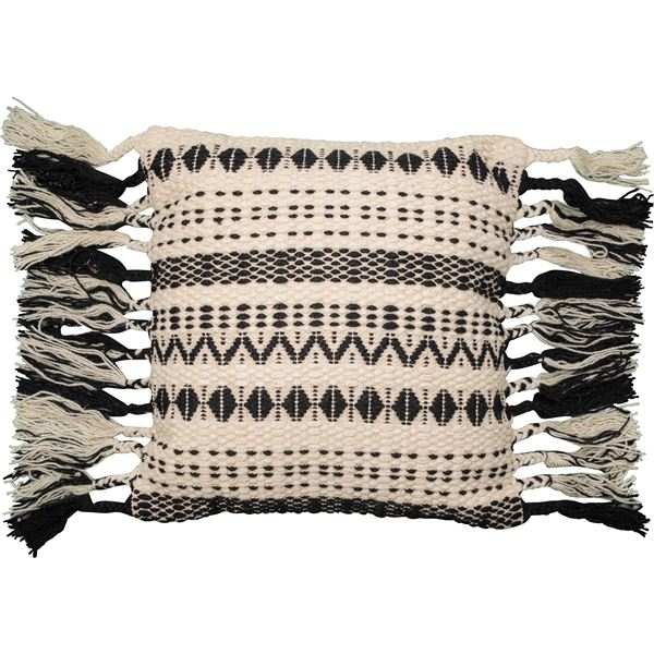 "Loloi Tassel Textured Throw Pillow - 22x22"" in Black/White - Closeouts"