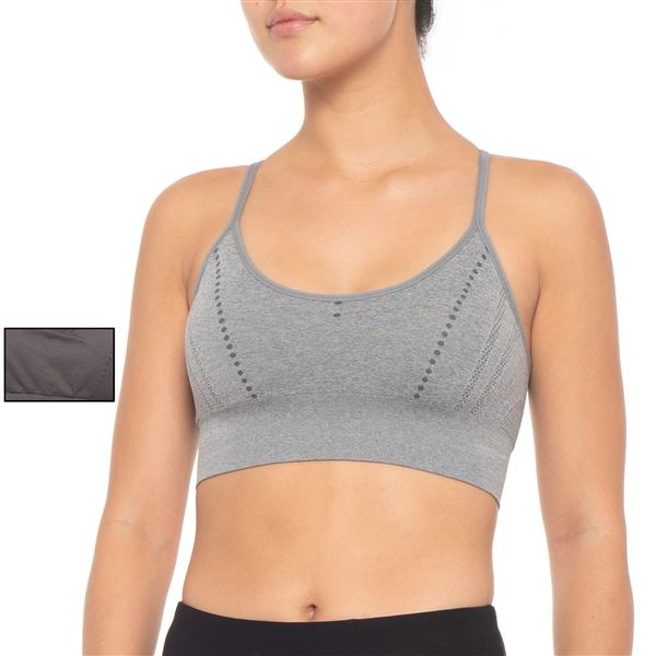 Pro-Fit Seamless Racerback Sports Bra - 2-Pack, Medium Impact (For Women) in Light Heather Grey/Light Olive - Closeouts