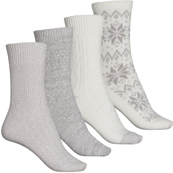 Plushfill(R) Cable-Knit Boot Socks - 4-Pack (For Women) - JAVA CABLE/WHITE (M ) -  Cuddl Duds