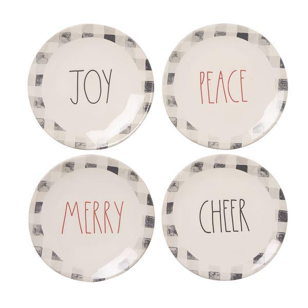 Rae Dunn 4 Pk Holiday Plaid Appitzer Plates by Rae Dunn