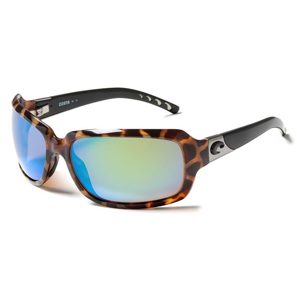 Costa Isabela Sunglasses - Polarized, Mirrored 400G Glass Lenses (For Women) in Tortoise Blue Mirror - Closeouts