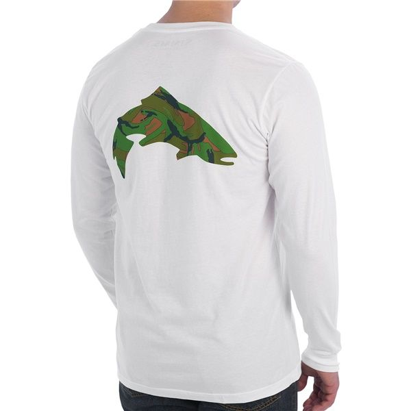 Simms riffle trout t shirt l s fishing tee color white for Simms fishing shirts