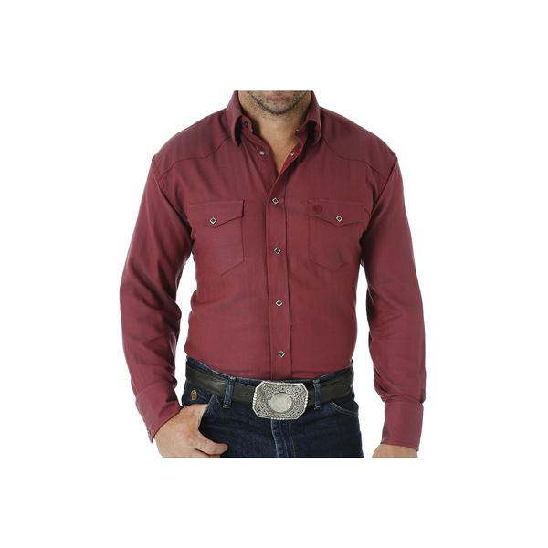 Wrangler George Strait Troubadour Jacquard Shirt - Snap Front, Long Sleeve (For Men) in Blue/Black - Closeouts