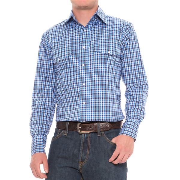 Wrangler Poplin Plaid Shirt - Snap Front, Long Sleeve (For Men) in Grey Checkered - Closeouts
