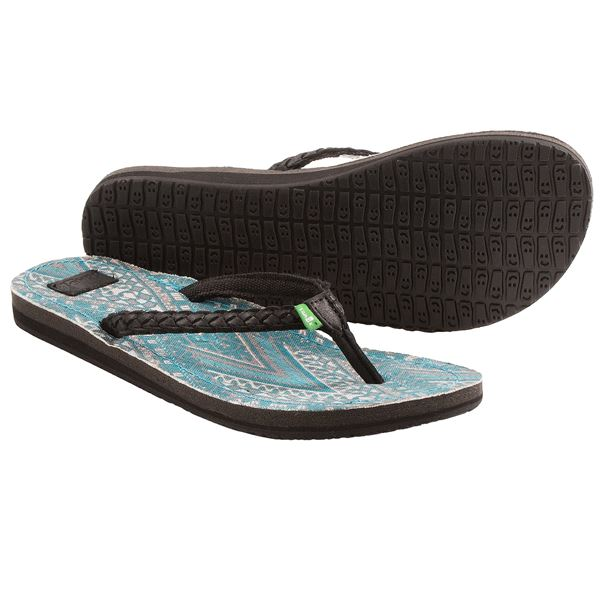 Sanuk Poncho Viva Sandals - Flip-Flops (For Women) in Brown/Turquoise Congo - Closeouts