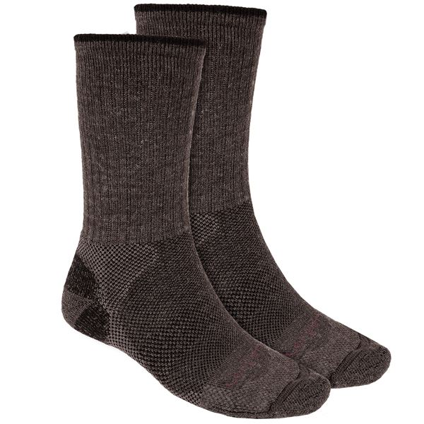 Lorpen Merino Wool Hiker Socks - 2-Pack, Crew (For Men and Women) in Anthracite/Green - 2nds