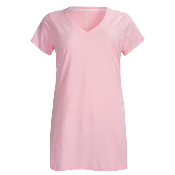 Jockey Jersey Knit Nightshirt - V-Neck, Short Sleeve (For Plus Size Women) in  - Closeouts