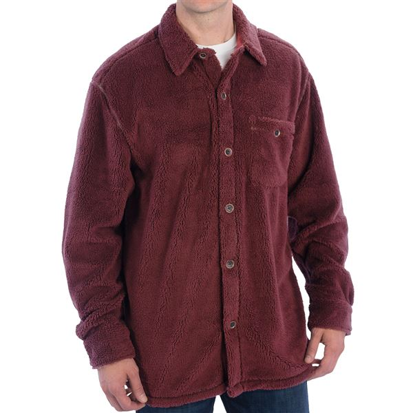 True Grit Pebble Pile Big Fleece Shirt - Button Front, Long Sleeve (For Men) in Vintage Blue - Closeouts