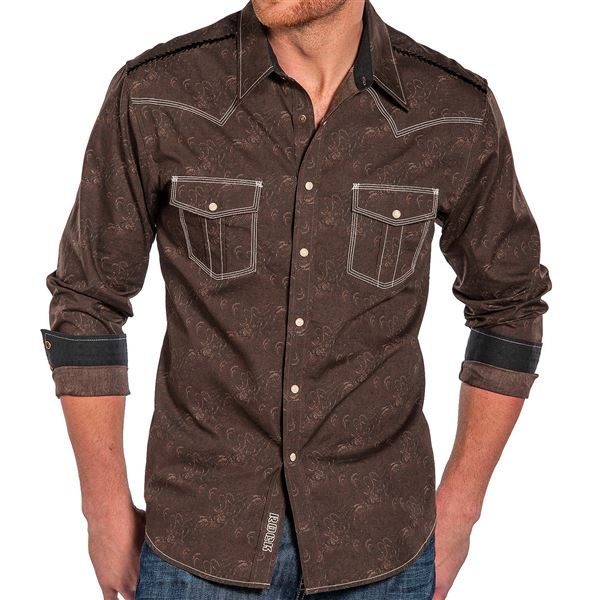 Rock & Roll Cowboy Paisley Print Shirt - Snap Front, Long Sleeve (For Men) in Purple - Closeouts
