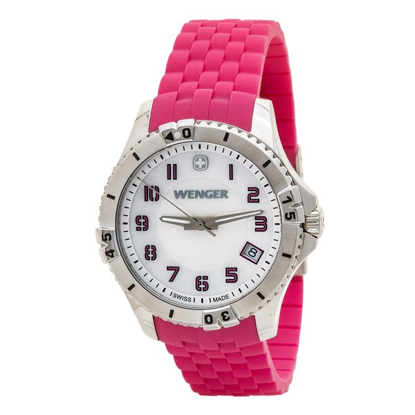 Wenger Squadron Mother-of-Pearl Watch - Silicone Band (For Women) in Pink - Closeouts