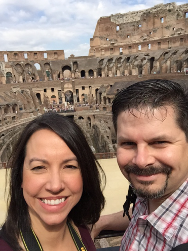 Miea (left) and Brad (right) visited the Colosseum while in Rome for the first time last summer.