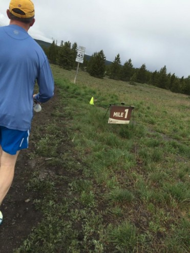 A runner begins his 13.1 mile course at the inaugural Yellowstone Half Marathon in 2014.