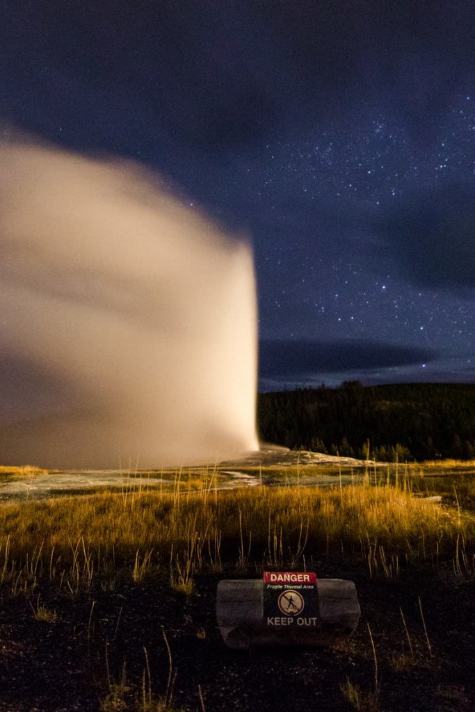 national parks at night Yellowstone