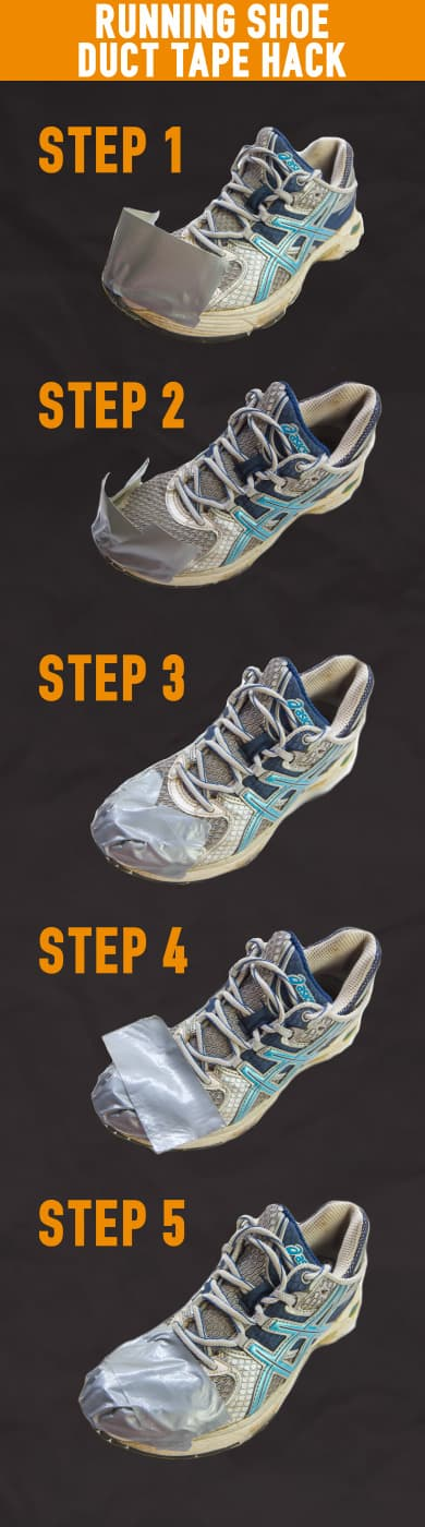 winter running duct tape shoes
