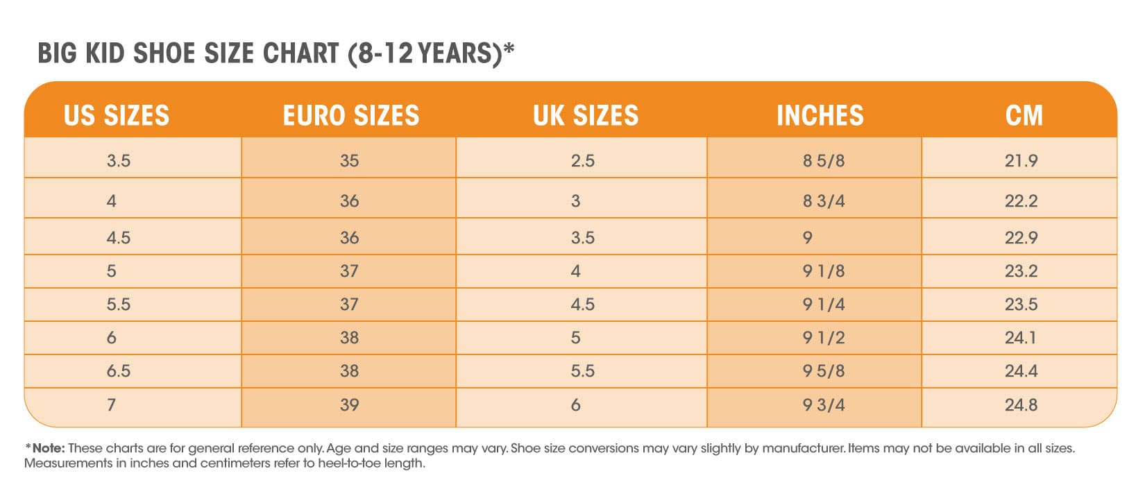 Table For Shoes Size Youth