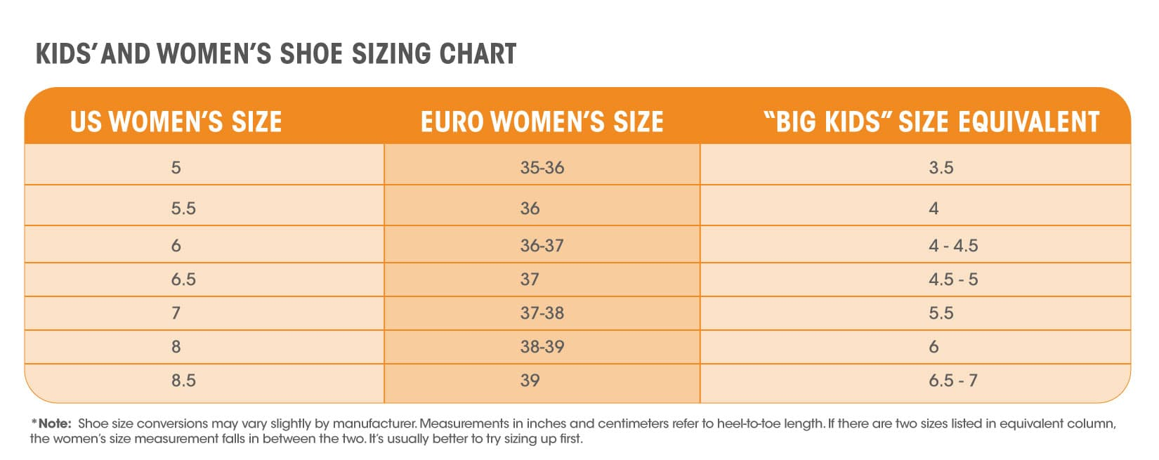 Big Kid Shoe Size Conversion To Women