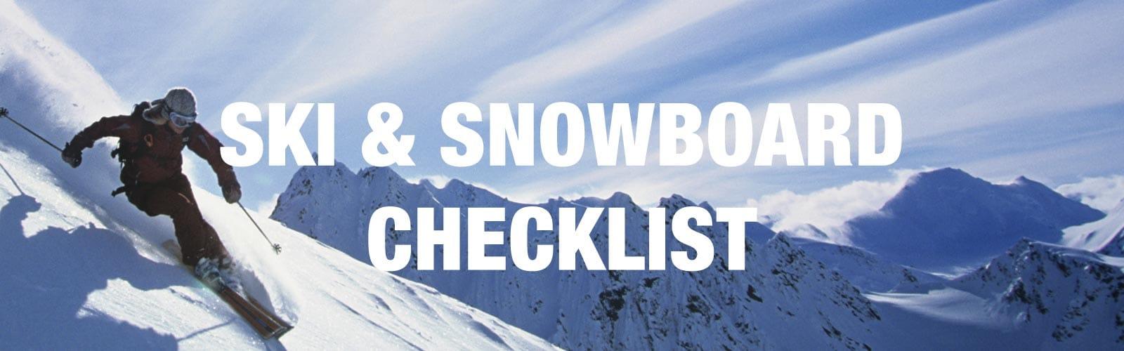 Ski and Snowboard Checklist