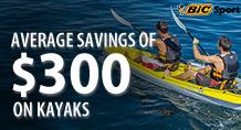Average Savings of $300 on Kayaks!